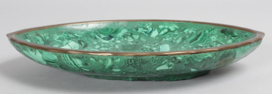 A MALACHITE OVAL DISH.  9ins long.