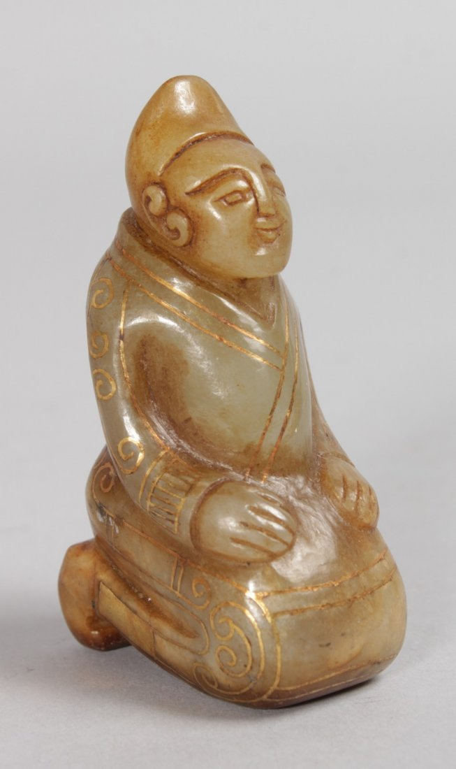 A GOOD INLAID CHINESE PRAYING FIGURE.