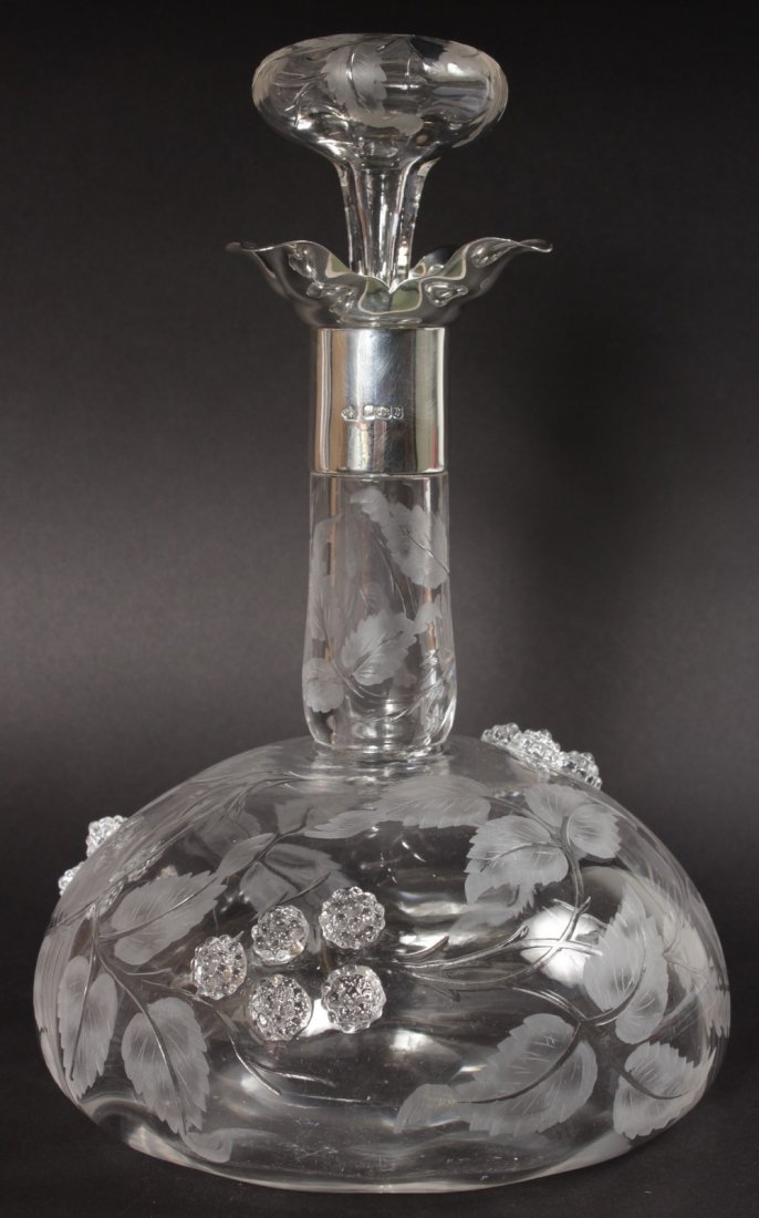 A LOVELY VICTORIAN DECANTER AND STOPPER engraved with