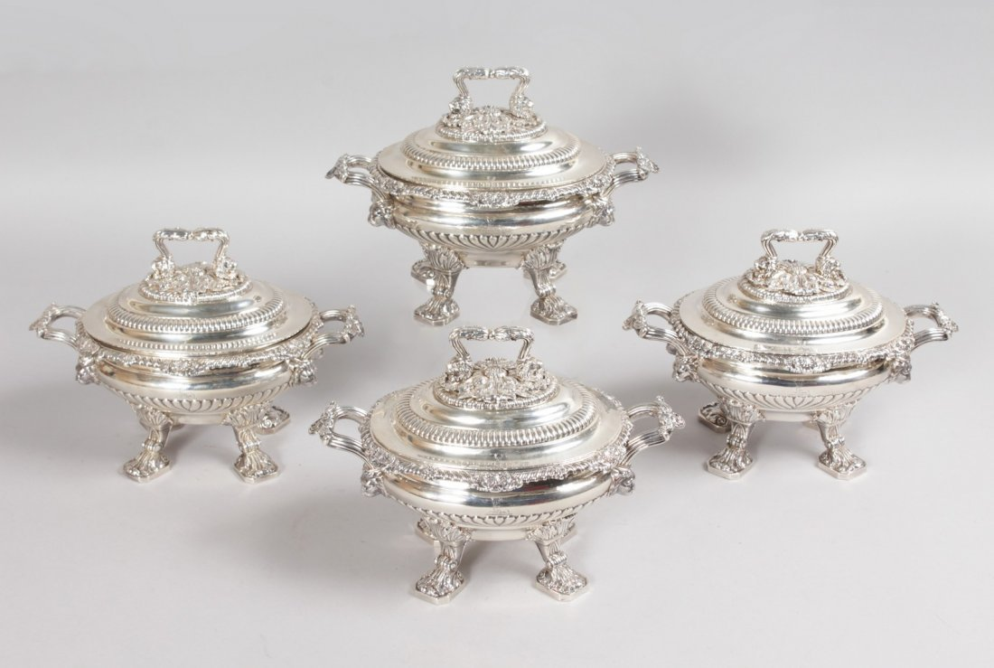 A SUPERB SET OF FOUR GEORGE III TWO HANDLED OVAL SAUCE