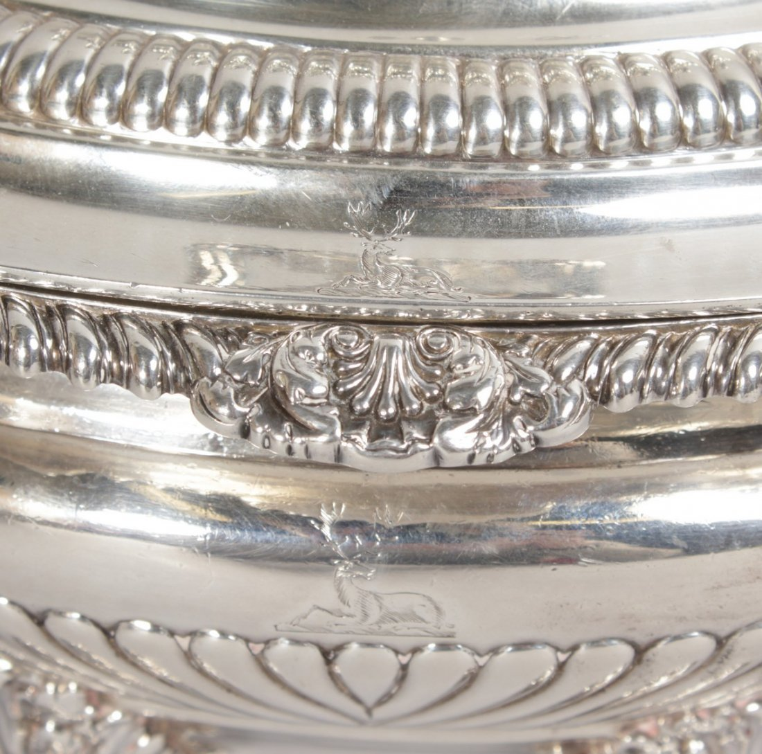 A SUPERB SET OF FOUR GEORGE III TWO HANDLED OVAL SAUCE - 4