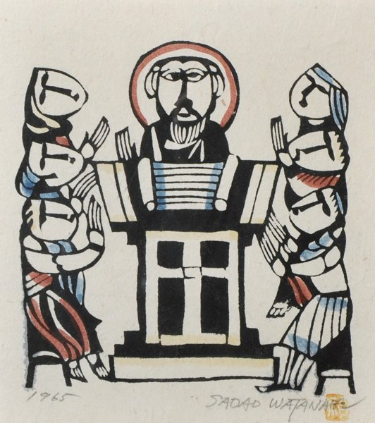 Sadao Watanabe (1913-1996) Japanese. 'Christ', Woodcut