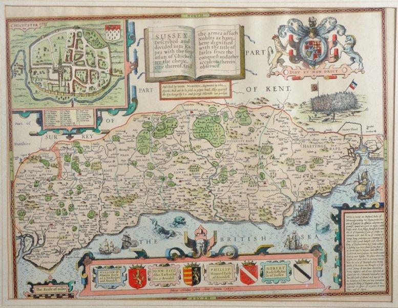 """After John Speede (1552-1629) British. """"Sussex"""", Map,"""