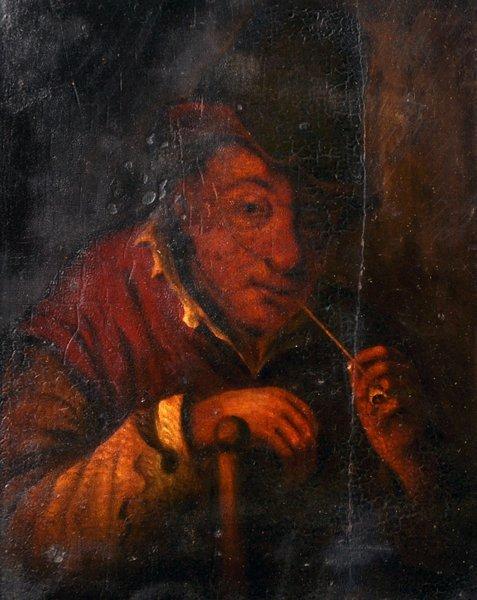 19th Century Dutch School. A Man Smoking a Pipe, Oil on