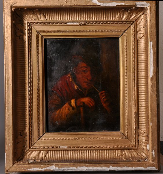 19th Century Dutch School. A Man Smoking a Pipe, Oil on - 2