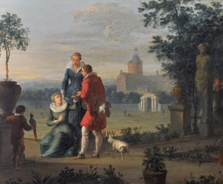 18th Century Dutch School. Elegant Figures on a