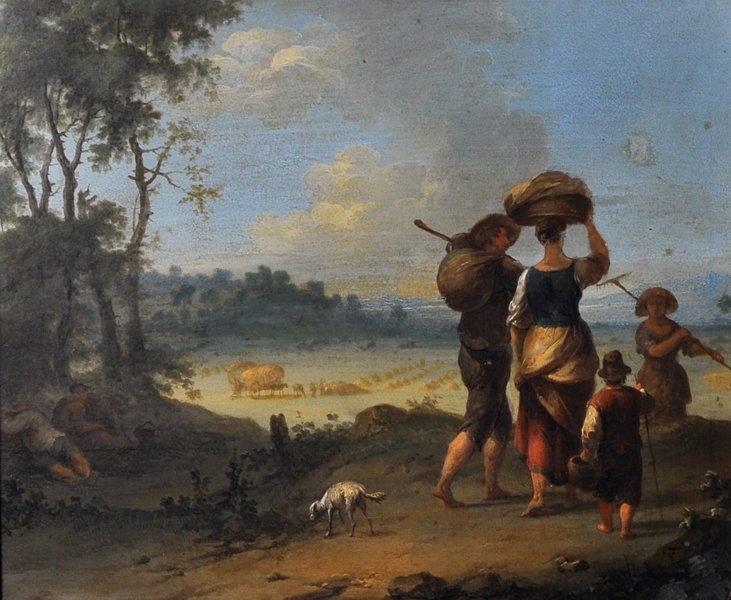 18th Century Dutch School. Elegant Figures on a - 2