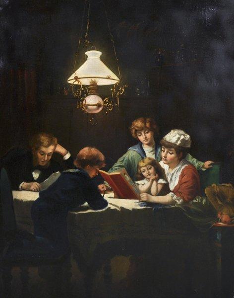Knut Ekvall (1843-1912) Swedish. 'The Reading Lesson',