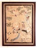 A GOOD QUALITY 19TH20TH CENTURY FRAMED CHINESE SILK
