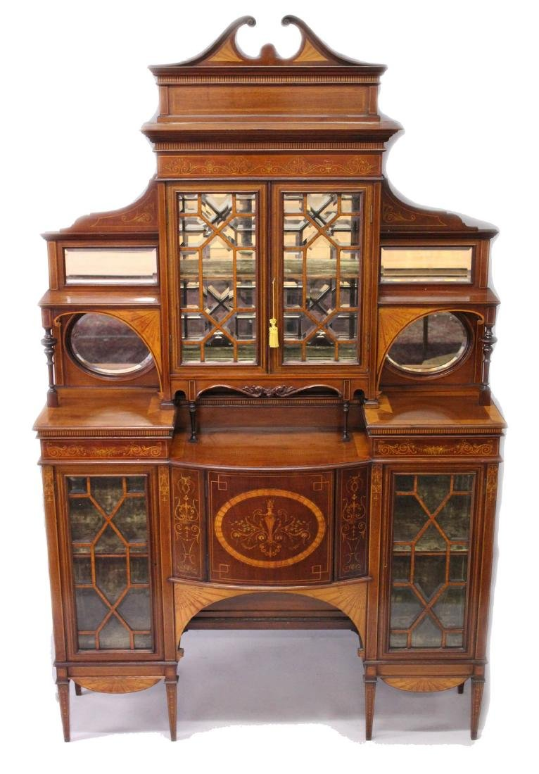 A SUPERB MAHOGANY AND MARQUETRY INLAID CABINET by