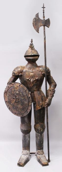 A SUIT OF ARMOUR.  Overall Height: 8ft 2ins.