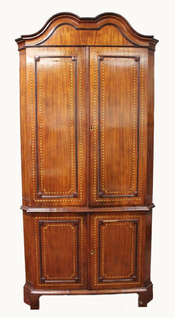 A LARGE 19TH CENTURY DUTCH MAHOGANY INLAID STANDING