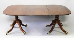 A GOOD GEORGE III MAHOGANY DINING TABLE, comprising of