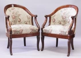 A GOOD PAIR OF EMPIRE ROSEWOOD TUB ARMCHAIRS, CIRCA.