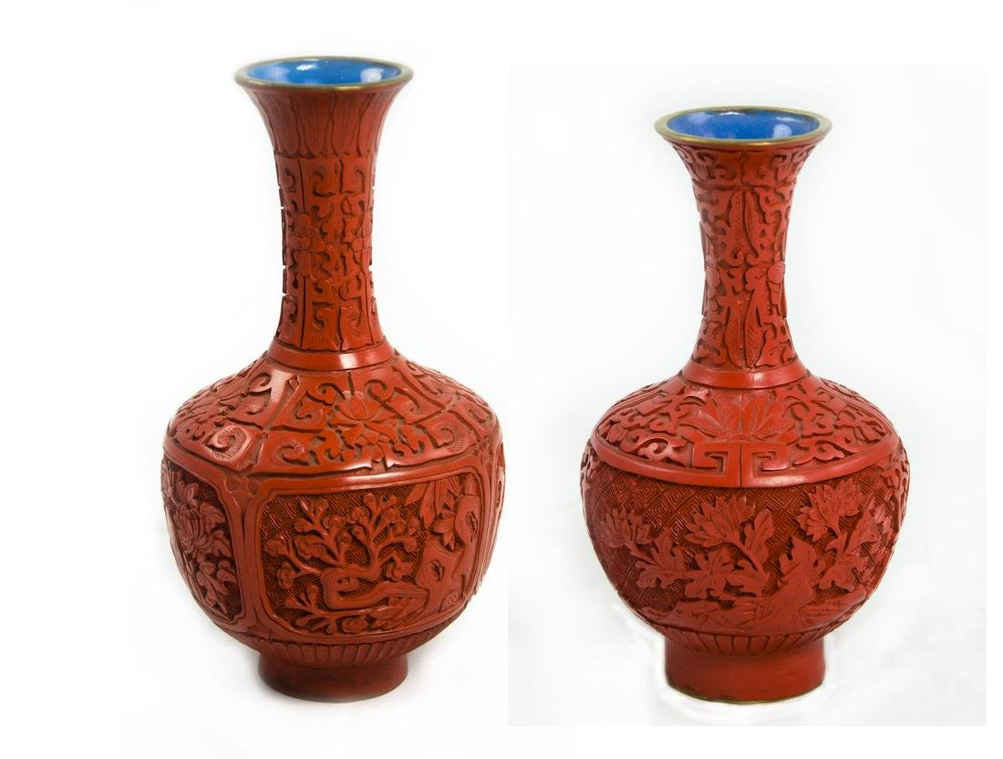 "Chinese Cinnabar Lacquerware Vase ""Chrysanthemum"" and"