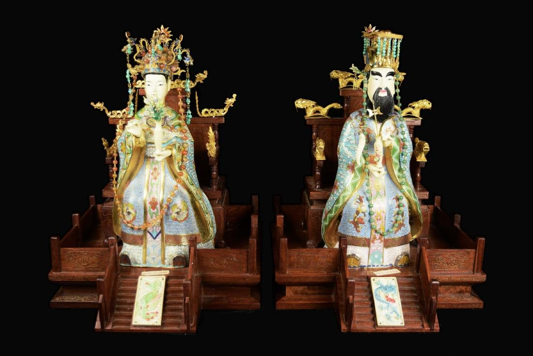 A Pair of Chinese Cloissone Taoism Figurines of the