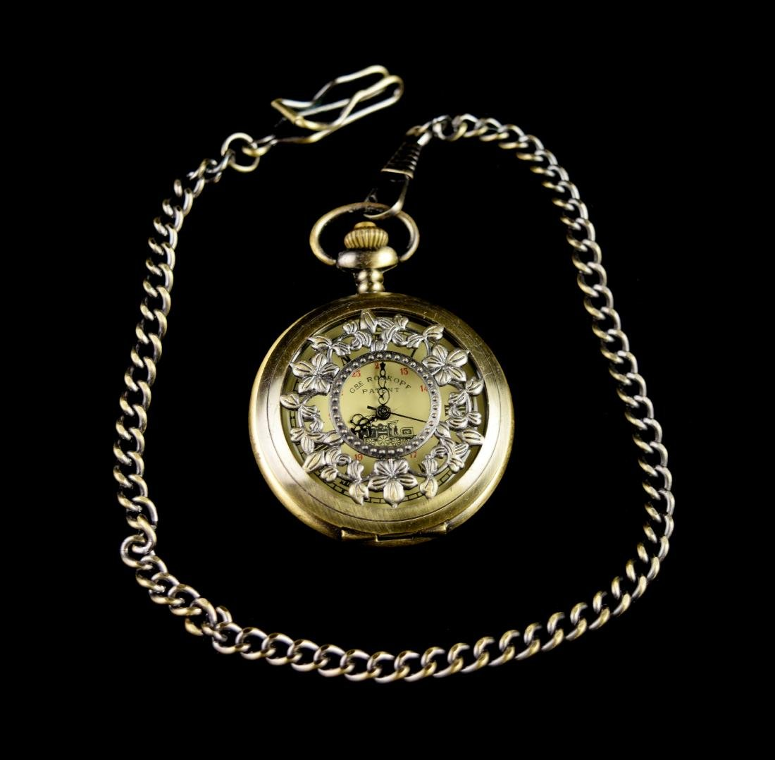 An Old Vintage Bronze Case Pocket Watch with a Cover