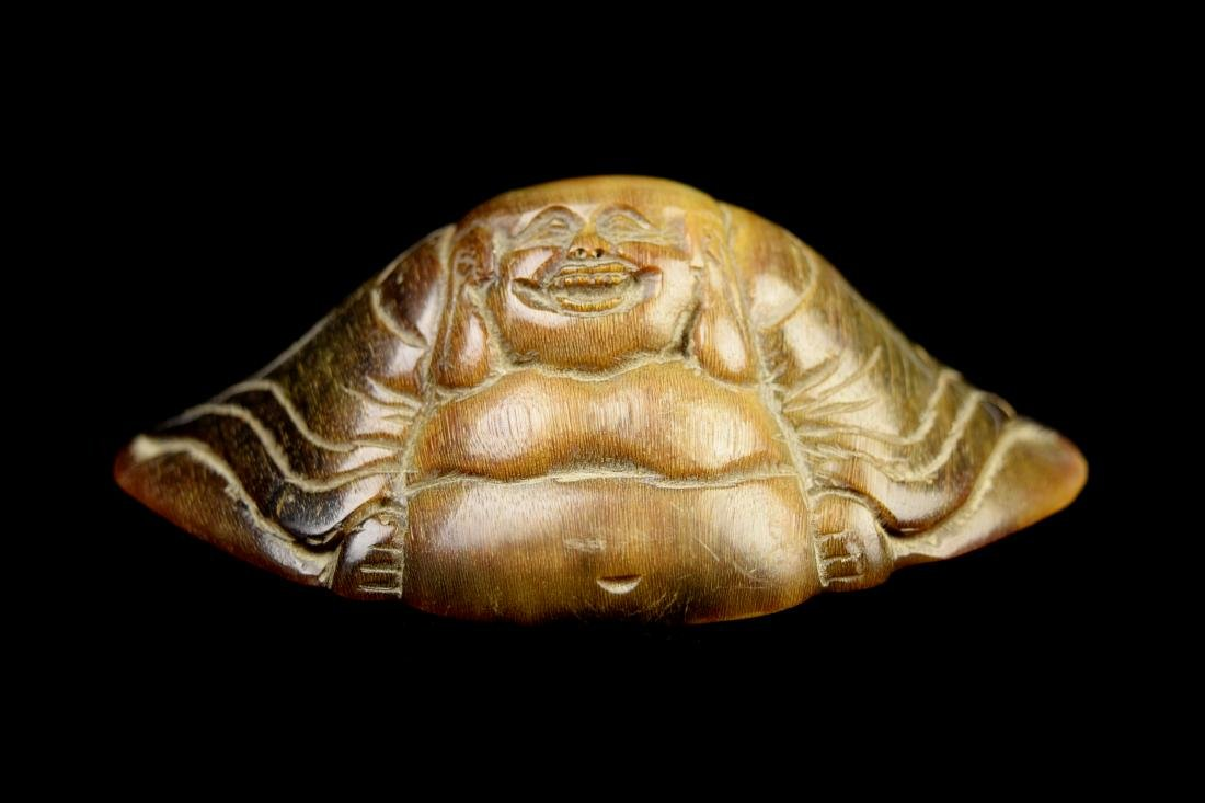 [Chinese] A Horn Carved Laughing Buddha Figurine