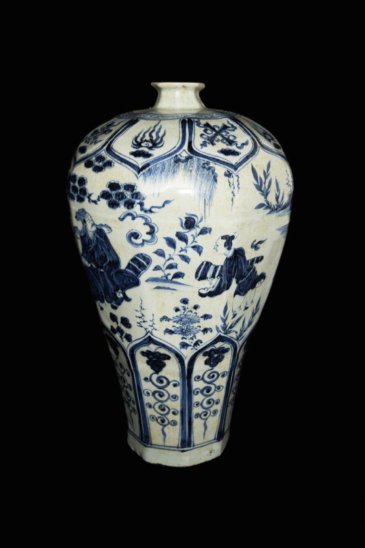 A Chinese Yuan Style Blue and White Porcelain Plum Vase