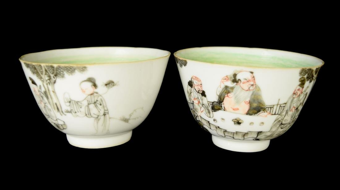 A Pair of Chinese Egg Shell Porcelain Bowls with