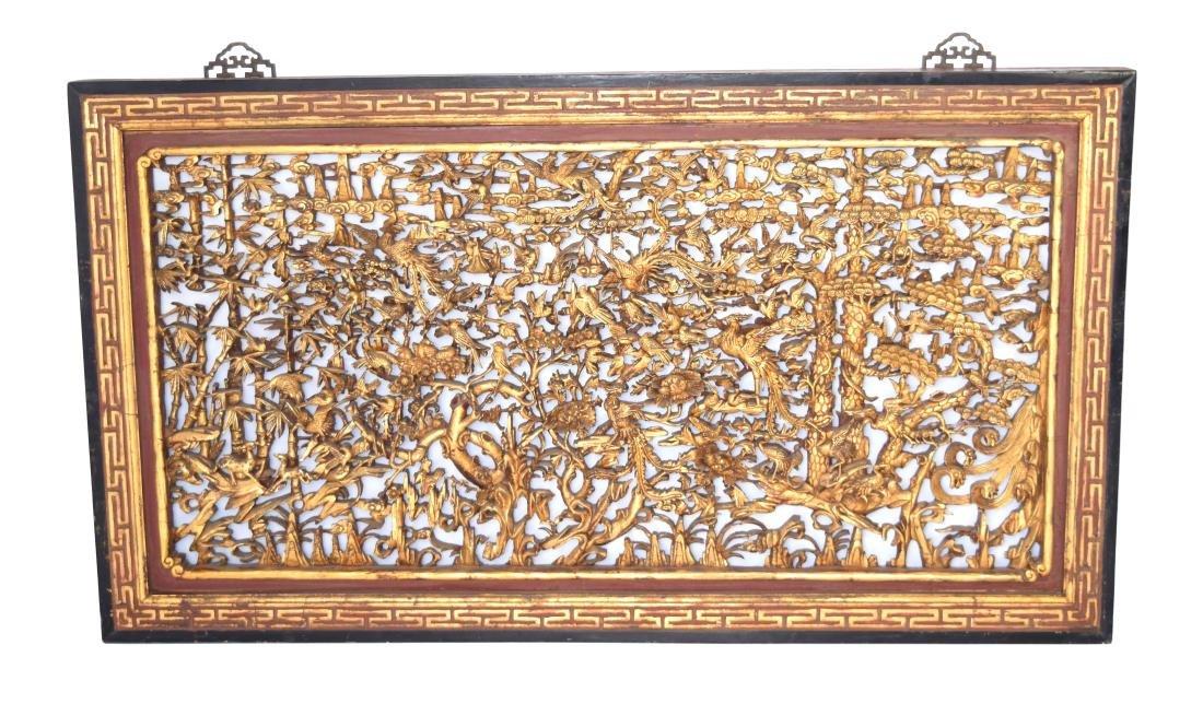 [Chinese] A Republic Era Gilt Camphor Wood Carved