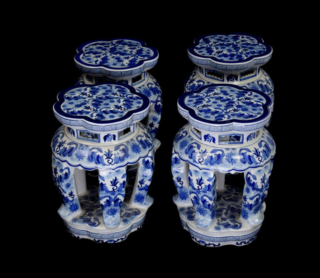 A Set of Chinese Style Blue and White Porcelain Stools