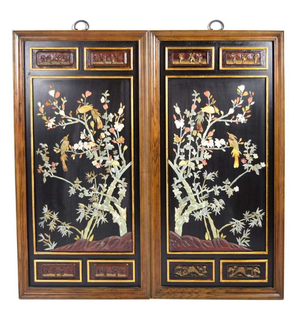 A Pair of Republic Era Chinese Lacquered Wall Panel