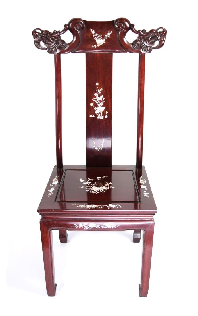 A Chinese Hardwood Chair with Mother Pearl Inlaid