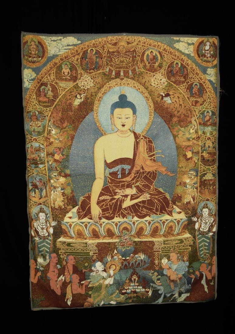 A Woven Tibetan Thangka of Gautama Buddha