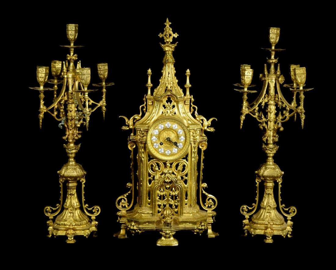 An Antique French Gilt Bronze Cathedral Style Mantle
