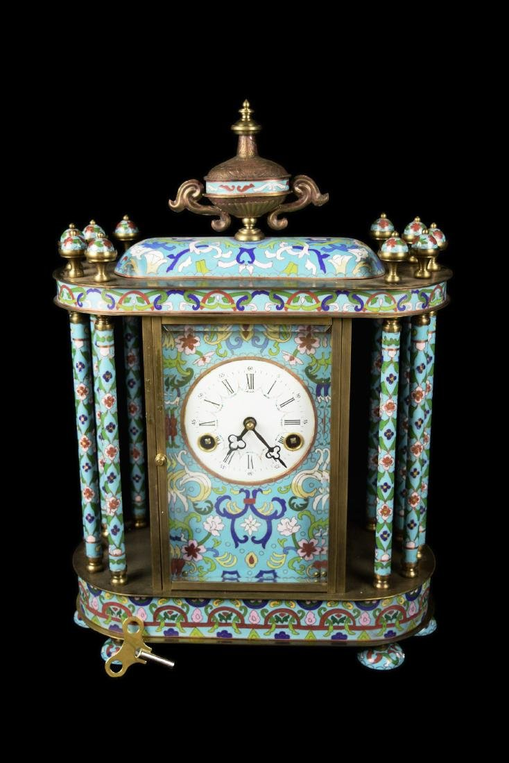 A Chinese Cloisonne Eight Post Mantel Clock