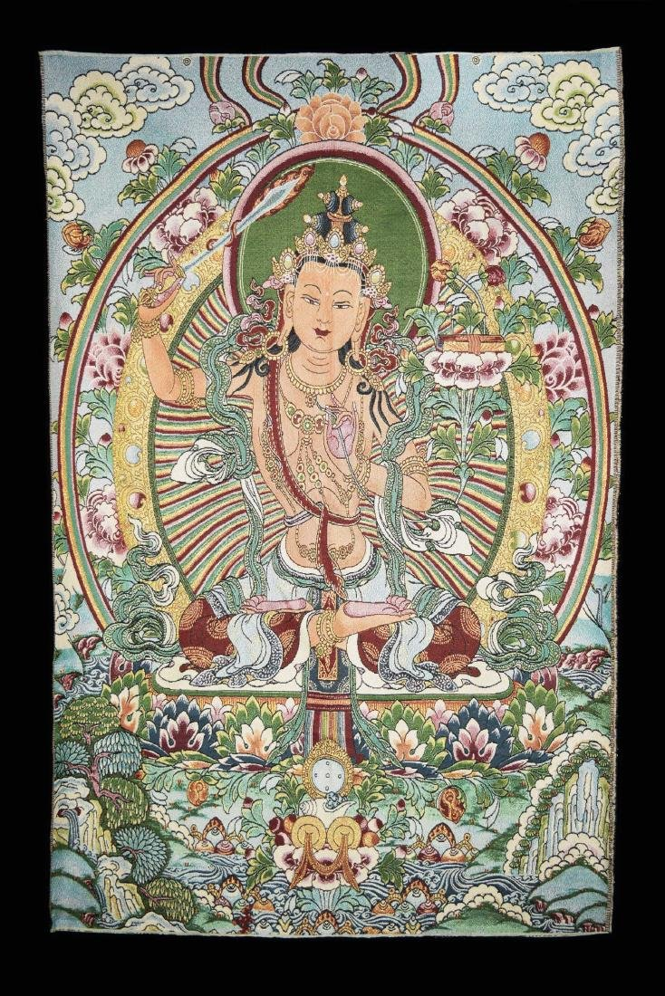 A Hand Woven Tibetan Thangka of Manjushri
