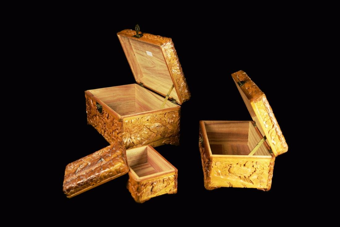 A Set of Three Camphor Wood Jewelry Boxes with Relief - 2