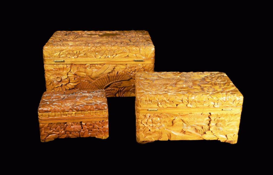 A Set of Three Camphor Wood Jewelry Boxes with Relief - 3
