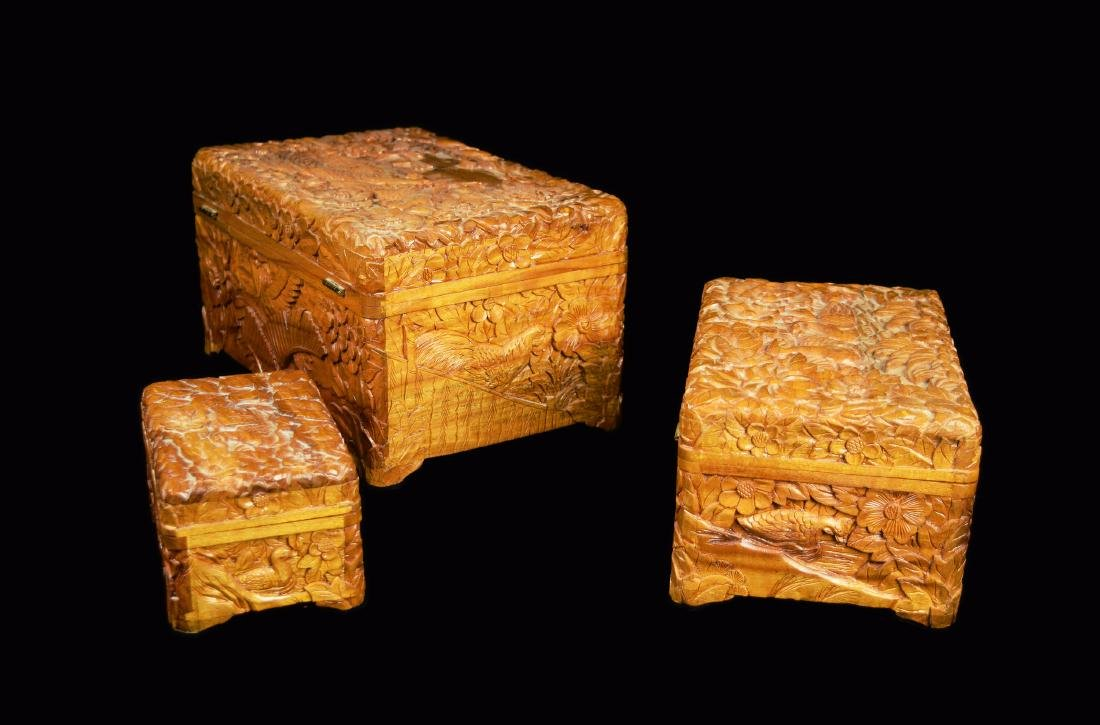 A Set of Three Camphor Wood Jewelry Boxes with Relief - 4