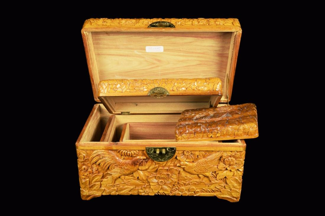 A Set of Three Camphor Wood Jewelry Boxes with Relief - 5