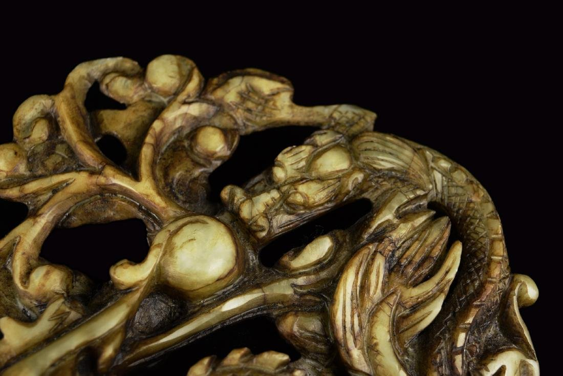A 19th Century Chinese White Jade Carved Dual Dragons - 2