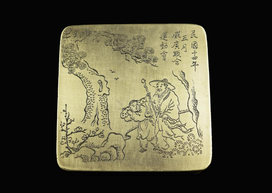 """A Chinese Brass Ink Box, marked as """"May of Fourteenth - 2"""