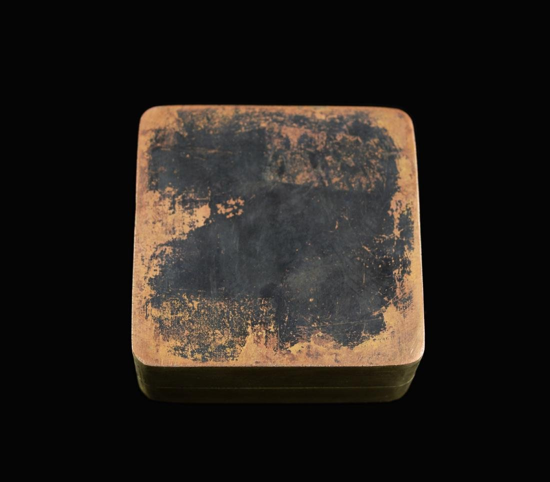 """A Chinese Brass Ink Box, marked as """"May of Fourteenth - 3"""