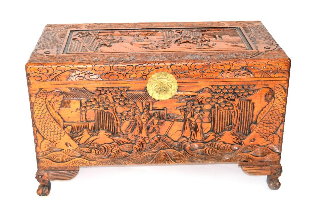 [Chinese] A Camphor Wood Carved Wardrobe Chest