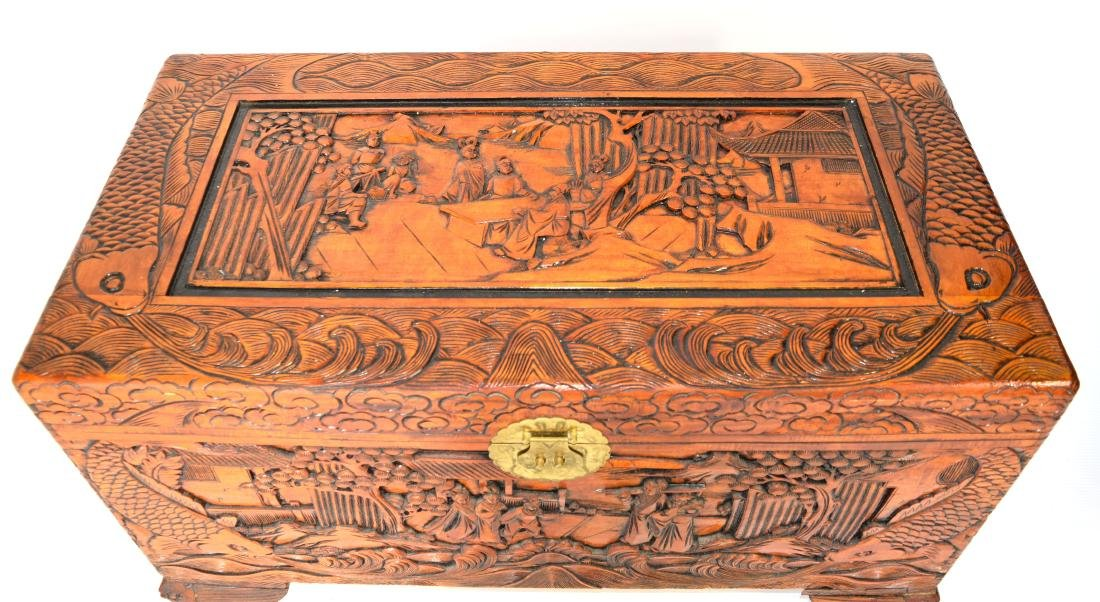 [Chinese] A Camphor Wood Carved Wardrobe Chest - 2