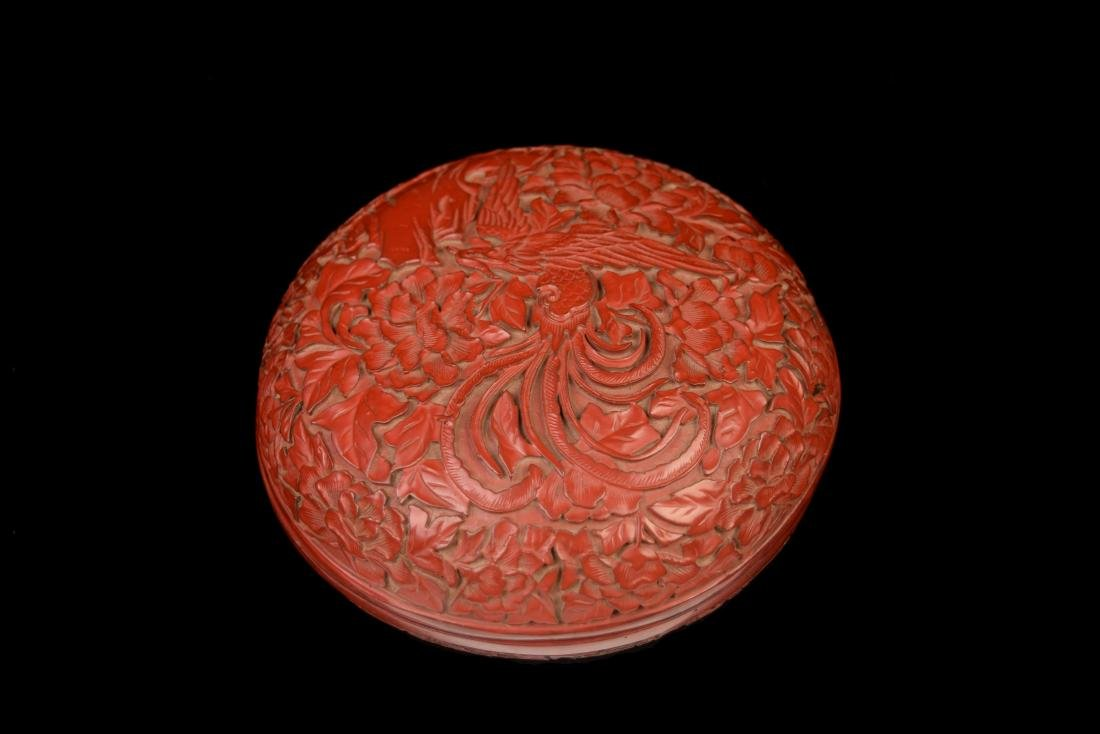 [Chinese] A Cinnabar Lacquered Wood Round Box Carved