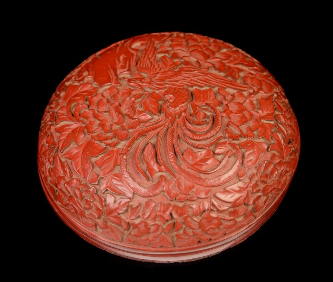 [Chinese] A Cinnabar Lacquered Wood Round Box Carved - 3
