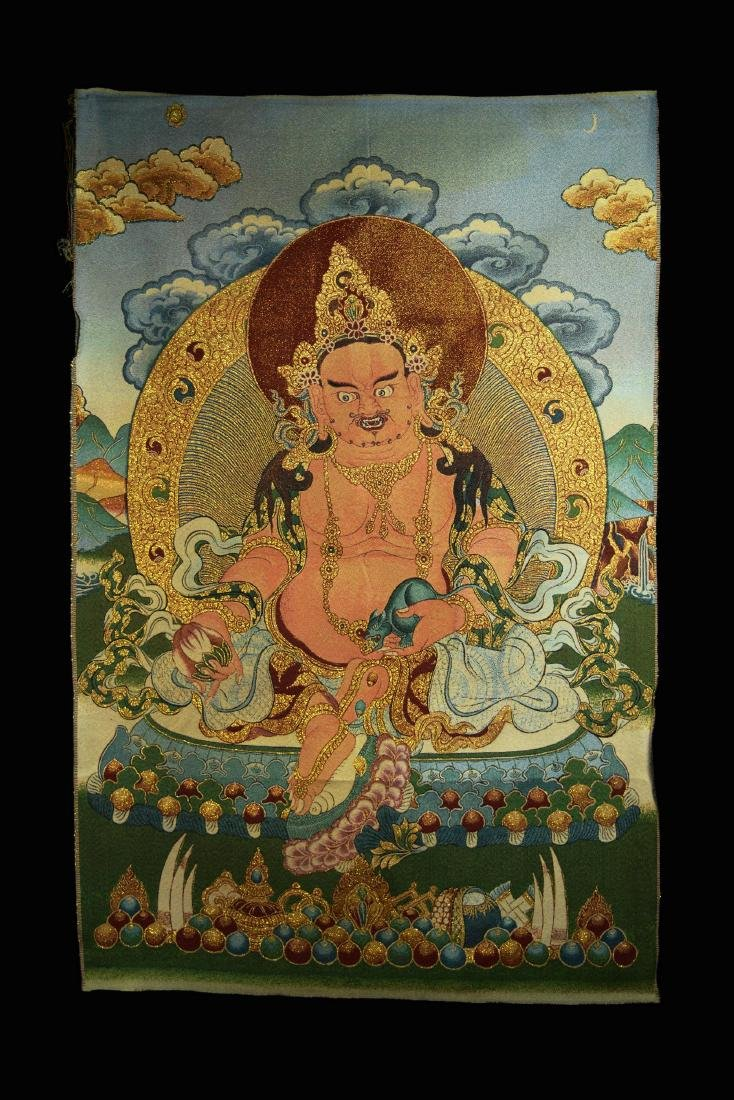 A  Hand Woven Tibetan Thangka of Yellow God of Fortune