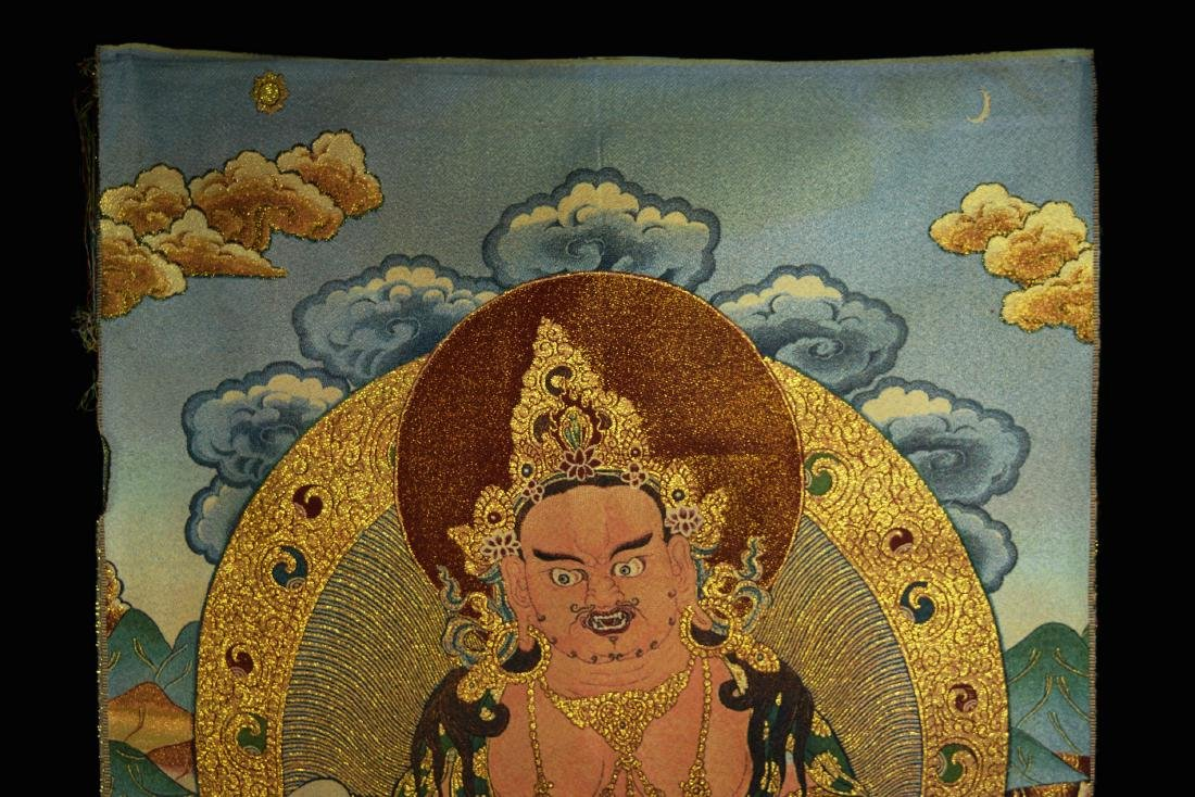 A  Hand Woven Tibetan Thangka of Yellow God of Fortune - 2