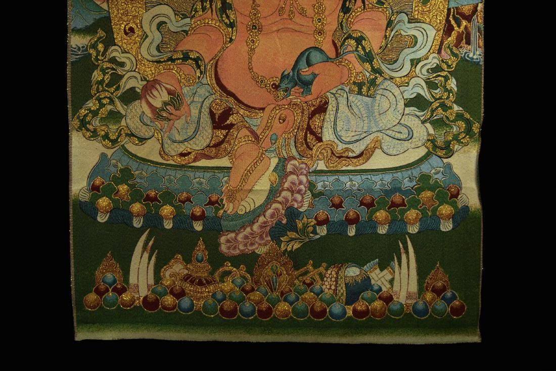 A  Hand Woven Tibetan Thangka of Yellow God of Fortune - 4
