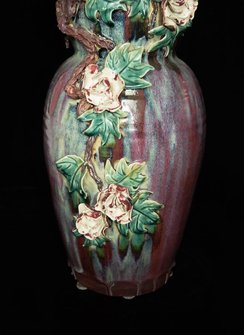 A Chinese Shiwan Pottery Flambe Glazed Vase with - 3