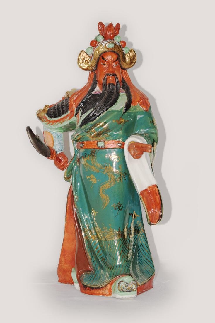 A Colour Porcelain Guangong Figurine