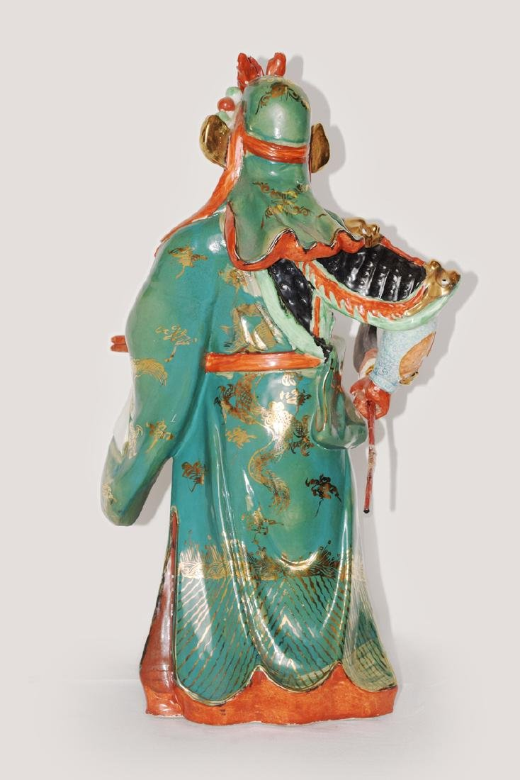 A Colour Porcelain Guangong Figurine - 3