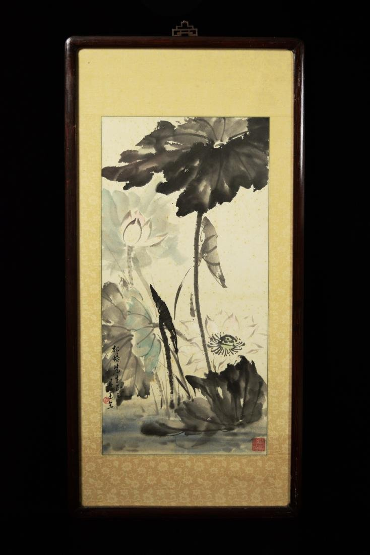 """Chinese Painting on Paper """"Lotus"""" by Liang, Danmei"""